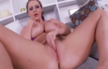 Big boobed Sophie Dee plays with pussy