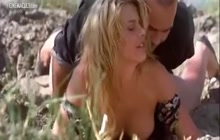 Sexy blonde Valeria Marini naked outdoor